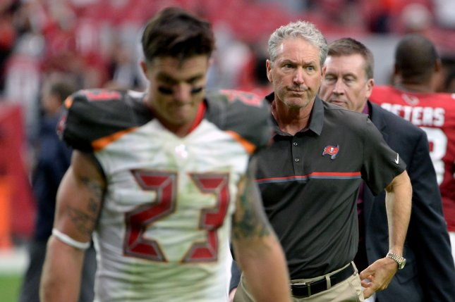 Tampa Bay Buccaneers' head coach Dirk Koetter leaves the field at the end of the of the Buccaneers-Arizona Cardinals game at University of Phoenix Stadium in Glendale, Arizona, September 18, 2016. The Cardinals defeated the Buccaneers 40-7. Photo by Art Foxall/UPI