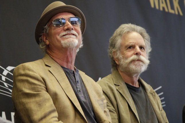Bill Kreutzmann and Bob Weir of the Grateful Dead sit on stage the Madison Square Garden 2015 Walk Of Fame inductions on May 11, 2015. A Sundance documentary based on the band will be available for streaming on Amazon. File Photo by John Angelillo/UPI