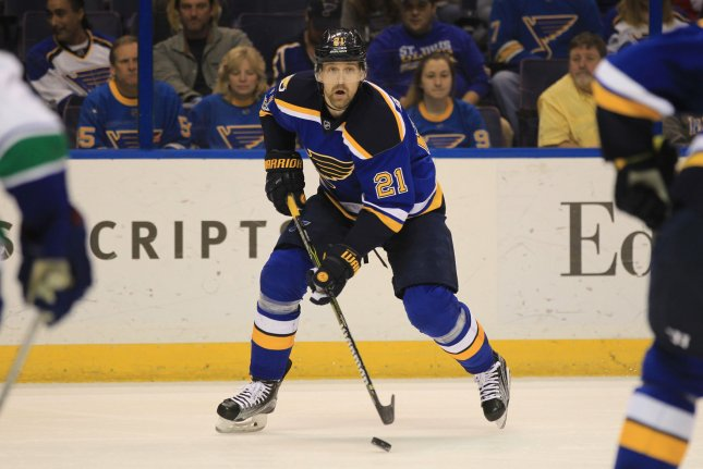 St. Louis Blues center Patrik Berglund of Sweden looks to pass the puck against the Vancouver Canucks in the first period at the Scottrade Center in St. Louis on February 16, 2017. File photo by BIll Greenblatt/UPI