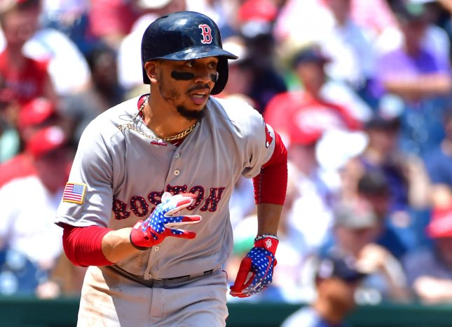 Mookie Betts and the Boston Red Sox face the Tampa Bay Rays on Friday. Photo by Kevin Dietsch/UPI