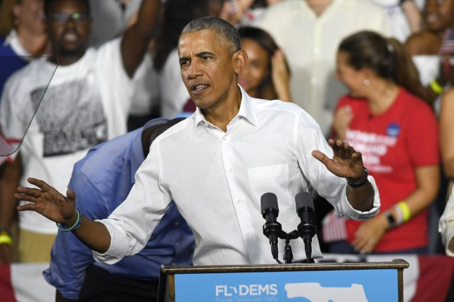 Former President Barack Obama campaigns for Tallahassee Mayor Andrew Gillium, candidate for Florida governor, and Sen. Bill Nelson at the Ice Palace Films Studio in Miami on Friday. Photo by Gary I Rothstein/UPI