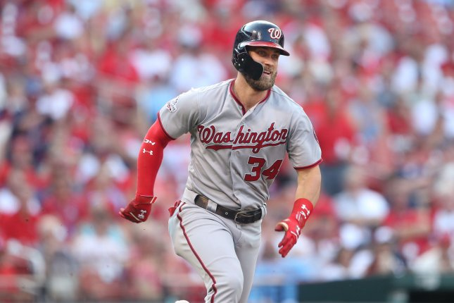 Washington Nationals star Bryce Harper watches the baseball drop into right field for an RBI double in the first inning against the St. Louis Cardinals on August 16 at Busch Stadium in St. Louis. Photo by Bill Greenblatt/UPI