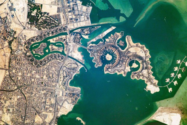 A view of Doha, the capital city of Qatar, from the International Space Station in 2017. The International Court of Justice on Tuesday rejected the efforts of four countries to block Qatar's airspace. File Photo courtesy of NASA/UPI