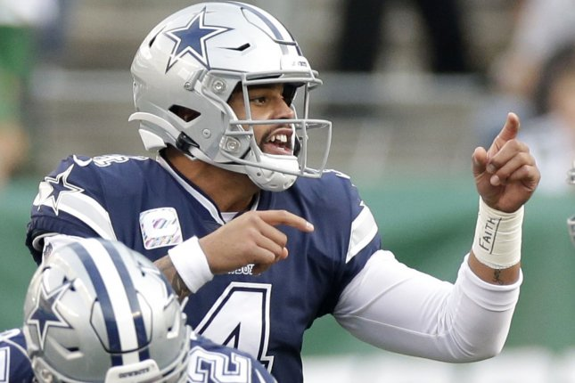 Dallas Cowboys quarterback Dak Prescott is not under contract beyond this season, but the team plans to bring him back in 2021. File Photo by John Angelillo/UPI