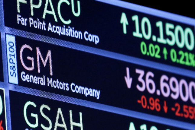The logo for General Motors appears on a board on the floor of the New York Stock Exchange on November 27, 2018. GM said it has an agreement with Wabtec to provide batteries to power locomotives. File photo by John Angelillo/UPI