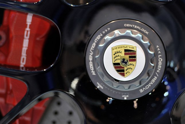 The logo for Porsche is displayed on the wheel of a 2011 911 Carrera at the Chicago Auto Show at McCormick Place in Chicago on February 9, 2011. UPI/Brian Kersey