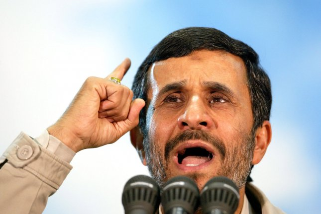 Iran's President Mahmoud Ahmadinejad speaks during a ceremony marking the 19th anniversary of late revolutionary founder Ayatollah Khomeini's death at his mausoleum just outside of Tehran, Iran on June 2, 2008. (UPI Photo/Mohammad Kheirkhah)