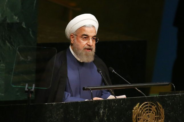Hassan Rouhani, president Iran, addresses the United Nations General Assembly in New York City on Sept. 28, 2015. File Photo by Monika Graff/UPI