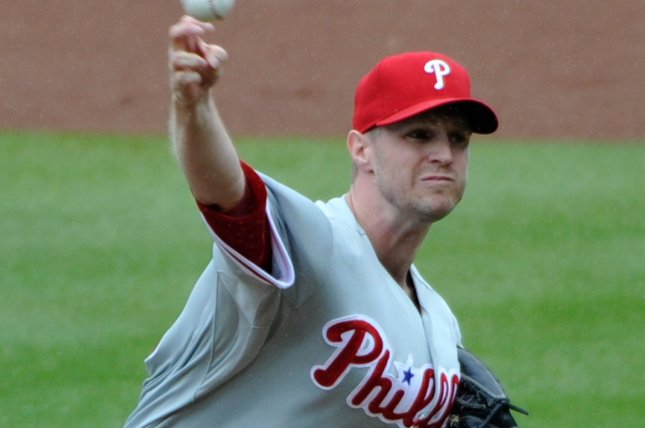Philadelphia Phillies starting pitcher Kyle Kendrick delivers to the Atlanta Braves during the first inning at Turner Field in Atlanta, July 20, 2014. UPI/David Tulis