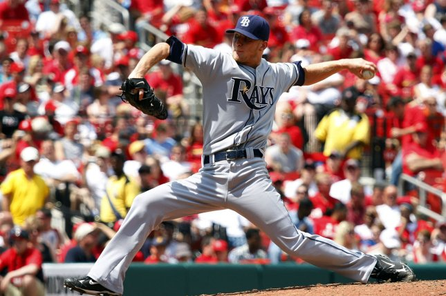 Former Tampa Bay Rays LHP J.P. Howell delivers a pitch to the St. Louis Cardinals in the sixth inning at Busch Stadium in St. Louis on May 17, 2008. (UPI Photo/Bill Greenblatt)