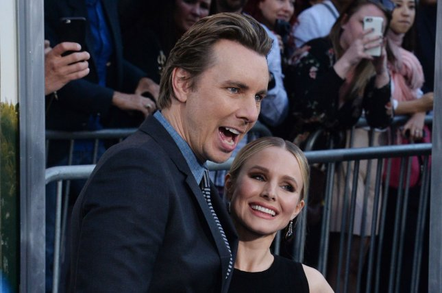 Dax Shepard (L) and Kristen Bell attend the Los Angeles premiere of CHiPs on Monday. Photo by Jim Ruymen/UPI