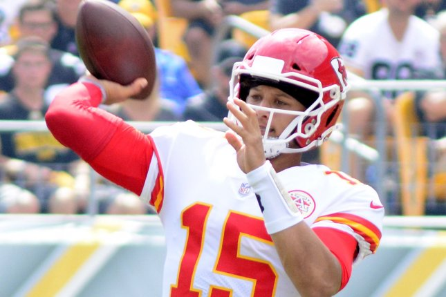 Kansas City Chiefs quarterback Patrick Mahomes (15) throws during the first quarter against the Pittsburgh Steelers on Sunday at Heinz Field in Pittsburgh. Photo by Archie Carpenter/UPI