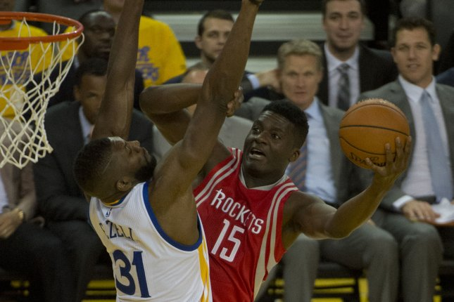 Houston Rockets center Clint Capela (15) had 16 points, 10 rebounds and three blocks in the team's Game 5 win over the Utah Jazz on Wednesday night. Capela wants a rematch with the Golden State Warriors in the second round. File Photo by Terry Schmitt/UPI