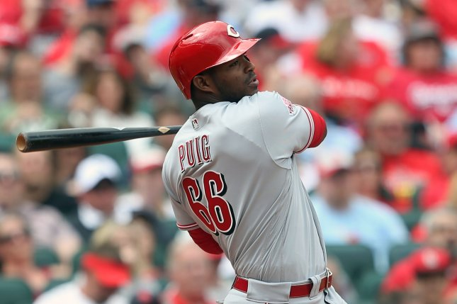 Cincinnati Reds outfielder Yasiel Puig is hitting just .212 with seven home runs and 23 RBIs this season, but came through big with a walk-off single in a win against the Chicago Cubs on Wednesday in Cincinnati. File Photo by Bill Greenblatt/UPI