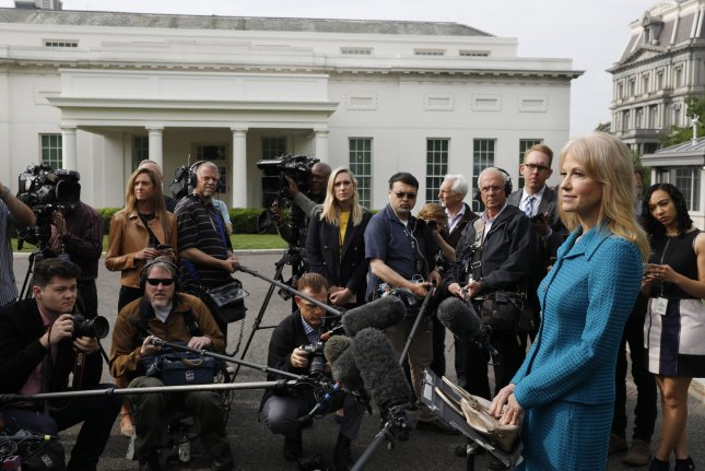 Counselor to the President Kellyanne Conway speaks to the media outside the White House in Washington, DC on April 30, 2019. Photo by Yuri Gripas/UPI