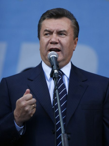 Former Ukrainian Prime Minister Viktor Yanukovich, in a file photo, greets his supporters during a rally in Kiev on October 1, 2007 the day after the elections. Yanukovich claimed victory in Sunday's runoff election. (UPI Photo/Sergey Starostenko)