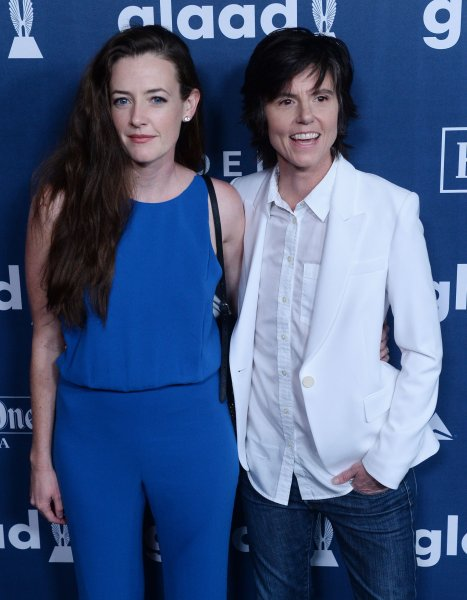 Comedienne Tig Notaro (R) and actress Stephanie Allynne attend the 27th annual GLAAD Media Awards on April 2, 2016. The couple welcomed twin boys on June 26. File Photo by Jim Ruymen/UPI