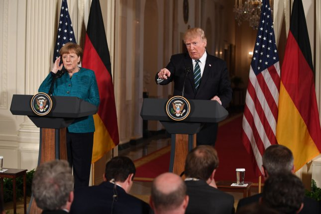 German Chancellor Angela Merkel and President Donald Trump hold a joint press conference in the White House in Washington, D.C., on Friday. Both leaders said they're optiistic that trade negotiations with the European Union can mutually benefit their economies. Photo by Pat Benic/UPI