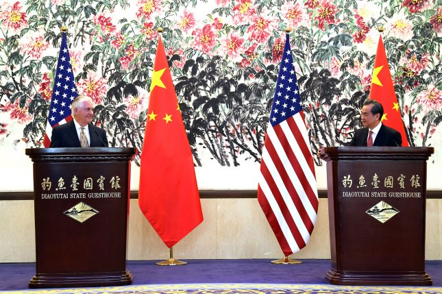 U.S. Secretary of State Rex Tillerson (L) and Chinese Foreign Minister Wang Yi hold a joint press conference in Beijing on Saturday. Six-party talks representatives of both sides may have met separately to discuss North Korea denuclearization, according to Beijing's foreign ministry. Photo courtesy of U.S. State Department