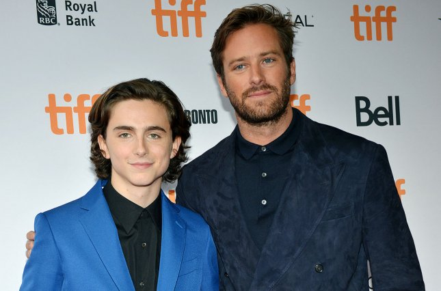 Call Me by Your Name stars Timothee Chalamet (L) and Armie Hammer (R). The film took home the top prize at the 2017 Gotham Awards which also honored Jordan Peele's Get Out. File Photo by Christine Chew/UPI