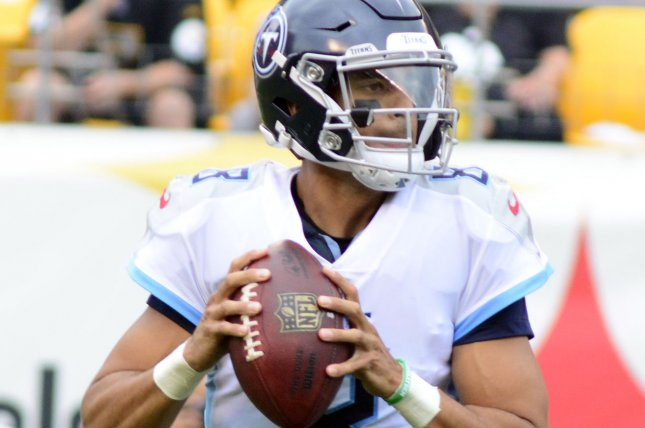 Tennessee Titans quarterback Marcus Mariota drops back pass during a game against the Pittsburgh Steelers at Heinz Field in Pittsburgh on August 25, 2018. Photo by Archie Carpenter/UPI