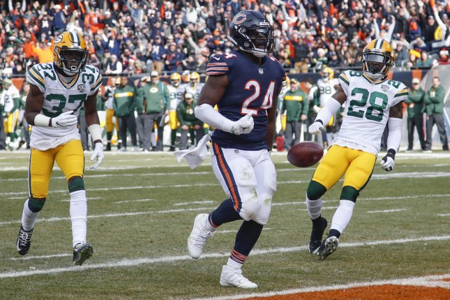 Former Chicago Bears running back Jordan Howard (24) was traded to the Philadelphia Eagles on Thursday. The Eagles sent a sixth-round pick in next year's draft to the Bears. The pick could become a fifth-round choice. File Photo by Kamil Krzaczynski/UPI