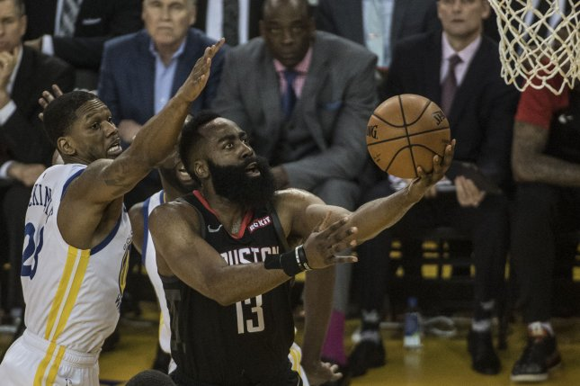 Houston Rockets guard James Harden (13) was named to the All-NBA first-team. File Photo by Terry Schmitt/UPI