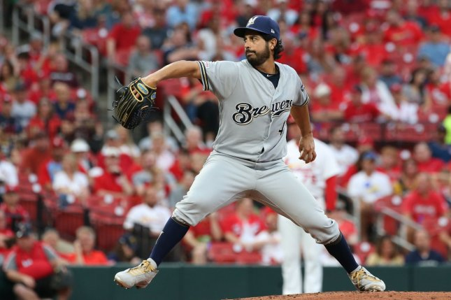 Former Milwaukee Brewers starting pitcher Gio Gonzalez was 3-2 with a 3.50 ERA in 19 appearances last season. File Photo by Bill Greenblatt/UPI