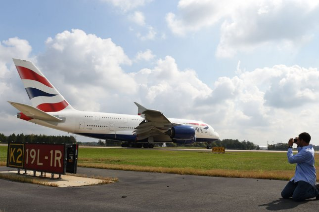 A British Airways Airbus A380 arrives at Washington Dulles International Airport in Dulles, Va. File Photo by Molly Riley/UPI