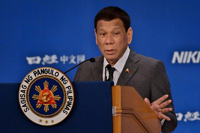 Philippine President Rodrigo Duterte has welcomed the development of a new Russian vaccine for the novel coronavirus. File Photo by Keizo Mori/UPI