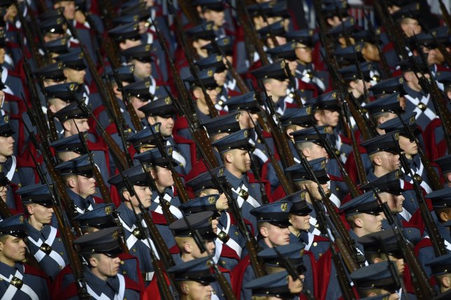 Cadets of the Virginia Military Institute march in Washington, D.C., on January 20, 2017, during the inauguration of President Donald Trump. File Photo by David Tulis/UPI