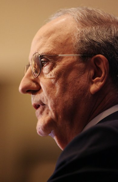 Former Senator George Mitchell speaks to the media in New York City on December 13, 2007. George Mitchell's report on performance-enhancing drugs in Major League Baseball is released to the media for the first time. (UPI Photo/John Angelillo) .