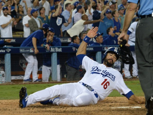 Los Angeles Dodgers' Andre Ethier scores against the Chicago Cubs in the NLCS on Oct. 19. Jim Ruymen/UPI