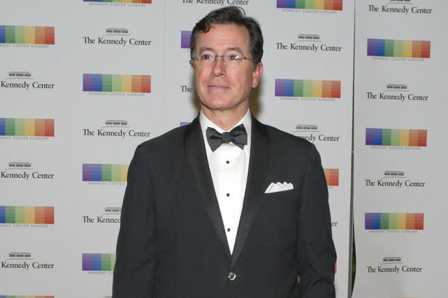 Stephen Colbert arrives for the formal Artist's Dinner honoring the recipients of the 38th Annual Kennedy Center Honors at the U.S. Department of State in Washington, D.C. on December 5, 2015. Colbert is hosting Sunday's Emmy Awards ceremony in Los Angeles. Pool photo by Ron Sachs/UPI