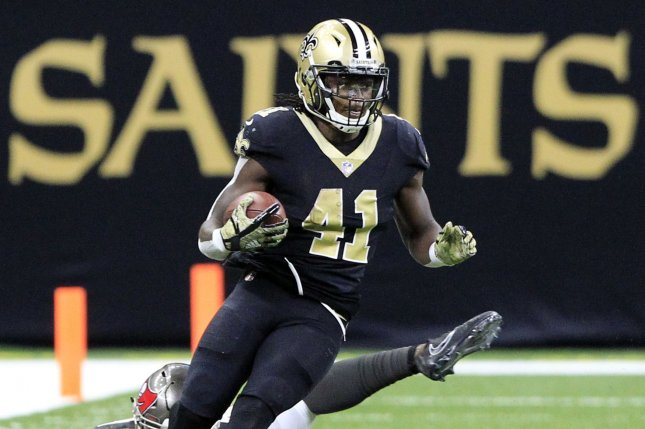 New Orleans Saints running back Alvin Kamara (41) breaks away from Tampa Bay Buccaneers middle linebacker Kwon Alexander (58) for a 17 yard gain in the fourth quarter at the Mercedes-Benz Superdome in New Orleans November 5, 2017. File photo by AJ Sisco/UPI