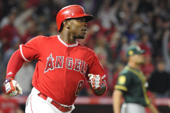 Los Angeles Angels outfielder Justin Upton hits a three-run home run in the seventh inning against the Oakland Athletics on April 6, 2018 at Angel Stadium in Anaheim, California. Photo by Lori Shepler/UPI