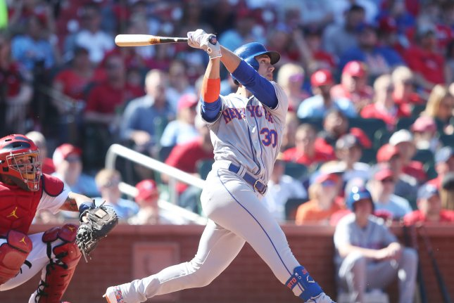 New York Mets outfielder Michael Conforto has nine home runs this season. Conforto left Thursday's game against the Nationals following a collision. File Photo by Bill Greenblatt/UPI