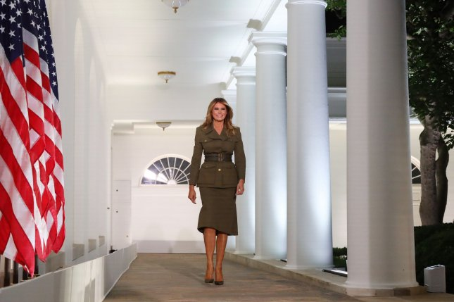 First lady Melania Trump is seen walking along the Colonnade at the White House. Monday, she condemned the violence last week at the U.S. Capitol that followed her husband's inciting rally to object to Congress' certification of Joe Biden as president-elect of the United States. File Photo by Michael Reynolds/UPI