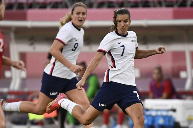 United States Women's National Team striker Tobin Heath (7) joined Arsenal on Friday through a free transfer. File Photo by Mike Theiler/UPI