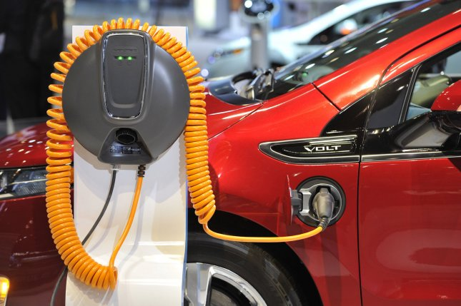A Chevy Volt charger is displayed at the Chicago Auto Show at McCormick Place in Chicago on February 9, 2011. UPI/Brian Kersey