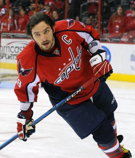 Washington Capitals team captain Alex Ovechkin warms up before the game against the Detroit Red Wings at the Verizon Center in Washington on January 19, 2010. UPI/Alexis C. Glenn