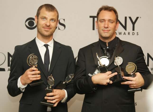 Trey Parker (L) and Matt Stone, producers of The Book of Mormon, pose with all the Tony Awards their play received along with the honor of Best Musical during the 65th Annual Tony Awards at the Beacon Theatre on June 12, 2011 in New York City. UPI/Monika Graff.