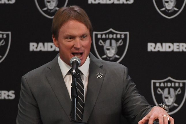Oakland Raiders new head coach Jon Gruden answers questions on January 9, 2018 at the Raiders Headquarters in Alameda, California. Photo by Terry Schmitt/UPI