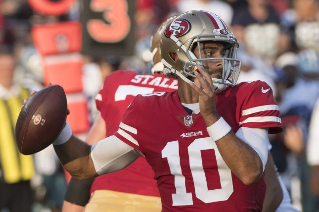 San Francisco 49ers quarterback Jimmy Garoppolo looks to pass against the Dallas Cowboys on August 9, 2018 at Levi's Stadium in Santa Clara, California. Photo by Terry Schmitt/UPI