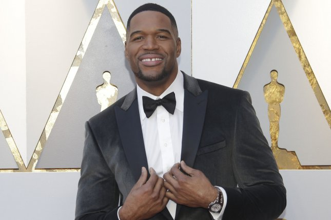 Michael Strahan, seen here at the Academy Awards on March 4, 2018, and Sara Haines' show, GMA Day has a new title -- Strahan & Sara. File Photo by John Angelillo/UPI