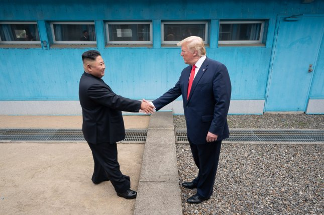 President Donald J. Trump shook hands with Chairman of the Workers' Party of Korea Kim Jong Un on June 30, as the two leaders met at the Korean Demilitarized Zone. Since then, Kim has inspected the latest of six test fires to develop a new weapon. White House File Photo by Shealah Craighead/UPI