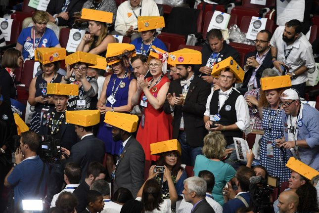 Wisconsin delegates wear cheeseheads at the Democratic National Convention in Philadelphia, Pa., on July 28, 2016. After a late ruling by the state's high court, Wisconsin is staging its Democratic Party primary on Tuesday amid the coronavirus crisis. File Photo by Mike Theiler/UPI
