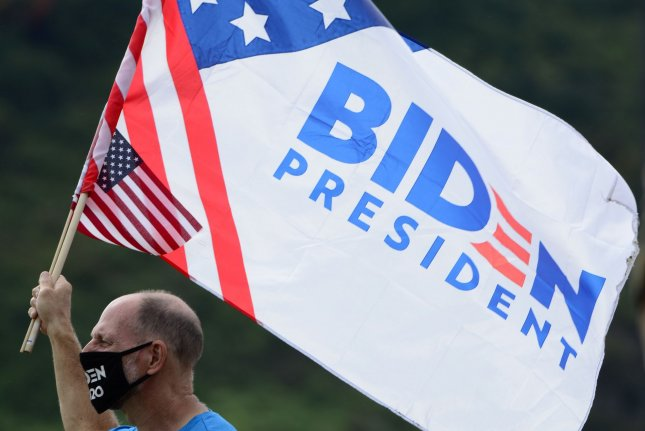 Supporters of Democratic presidential nominee Joe Biden gather at the Hazelwood Green complex near Pittsburgh, Pa., on August 31 prior to a visit by the former vice president. File Photo by Archie Carpenter/UPI