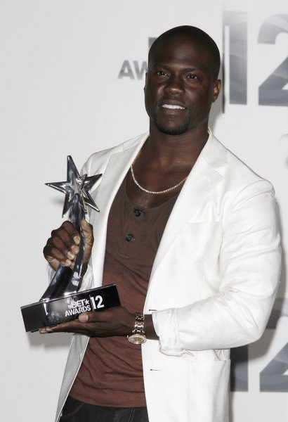 Actor Kevin Hart appears backstage with the Best Actor award he won during the BET Awards 12 at the Shrine Auditorium in Los Angeles on July 1, 2012. UPI/Jonathan Alcorn