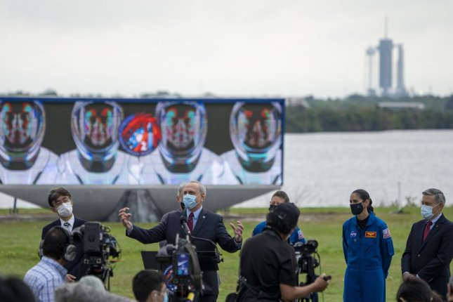 Acting NASA Administrator Steve Jurczyk announces a delay for the SpaceX NASA Crew-2 launch on Wednesday during press conference at Kennedy Space Center in Florida. Photo by Pat Benic/UPI